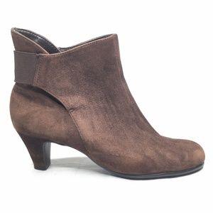 Aerosoles Shoes - Aerosoles Playlist Brown Bootie Pull On Suede